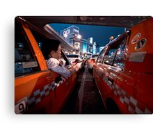 Two taxi drivers having a chat; Ueno Station, Tokyo, Japan Canvas Print
