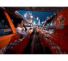 Two taxi drivers having a chat; Ueno Station, Tokyo, Japan Photographic Print