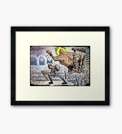 Escape From New York John Carpenter Sci Fi Dystopian Future Science Fiction movie film action illustration joe badon drawing cartoon Framed Print