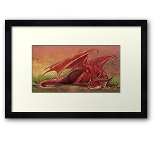 Sleeping red dragon Framed Print