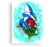 Left Shark and Mermaid Canvas Print