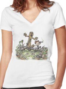 Han & Furball Women's Fitted V-Neck T-Shirt