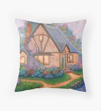 COTTAGE ORIGINAL OIL PAINTING Throw Pillow