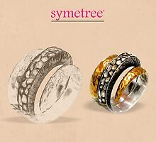 Spiral Twin Shade Hammered & Carved Ring by SymetreeIND
