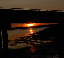 Red Sunset Under the Bridge by Janet Ellen Lusk