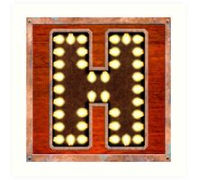 Vintage Lighted Sign - Monogram Letter H Art Print