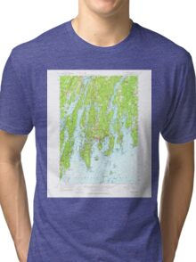 Maine USGS Historical Map Boothbay 460229 1957 62500 Tri-blend T-Shirt
