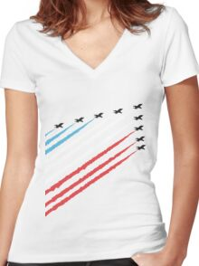 RAF Red Arrows Formation Women's Fitted V-Neck T-Shirt