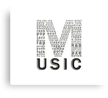 Music typography Canvas Print