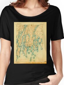 Maine USGS Historical Map Boothbay 807396 1893 62500 Women's Relaxed Fit T-Shirt