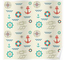 Nautical pattern. Hipster image Poster