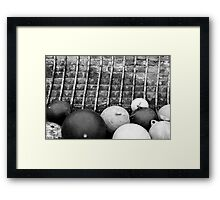 Buoys in a Wooden Boat Framed Print