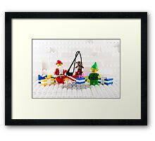 Santa Fishing for Gifts Framed Print