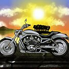 Motorcycle At Sunset by JayBakkerArt
