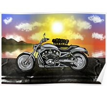 Motorcycle At Sunset Poster