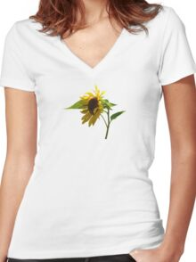 Backlit Sunflower Women's Fitted V-Neck T-Shirt
