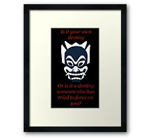 Blue Spirit Mask With Uncle Iroh Qoute Framed Print