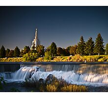 Sun down on the Idaho Falls temple Photographic Print