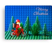 Cycling Santa Canvas Print