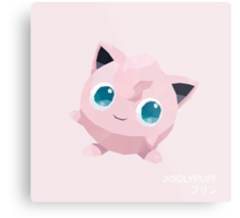 Jigglypuff Low Poly Metal Print