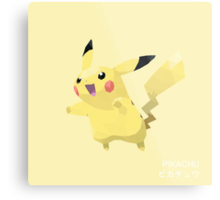 Pikachu Low Poly Metal Print
