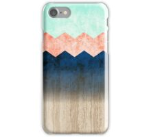 Chevron pattern with coral, mint and blue textures fading on wood iPhone Case/Skin