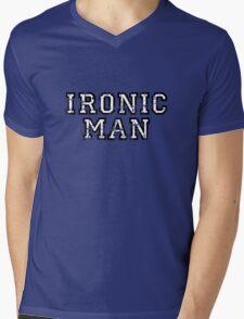 IRONIC MAN Vintage White Mens V-Neck T-Shirt