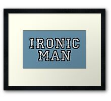 IRONIC MAN Vintage White Framed Print
