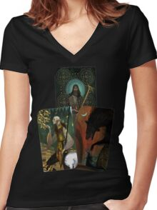 Solas Tarot Card Trilogy Women's Fitted V-Neck T-Shirt