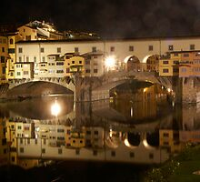Ponte Vecchio Florence Italy at night by Moshe Cohen