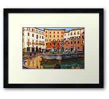Neptune Fountain on Piazza Navona - Impressions Of Rome Framed Print