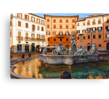 Neptune Fountain on Piazza Navona - Impressions Of Rome Canvas Print