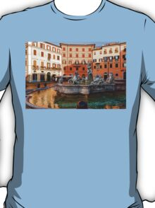 Neptune Fountain on Piazza Navona - Impressions Of Rome T-Shirt
