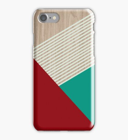 Burgundy and dark mind geometric shapes with light mint stripes iPhone Case/Skin
