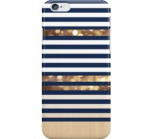 Navy stripes and golden sparkles  on wood iPhone Case/Skin