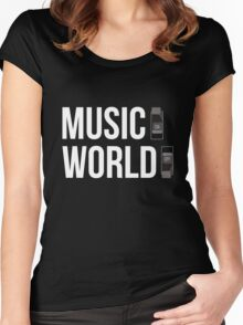 Music ON, World OFF Women's Fitted Scoop T-Shirt