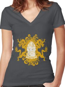 Buddha with Dragons Women's Fitted V-Neck T-Shirt