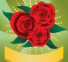 Card with red roses by AnnArtshock