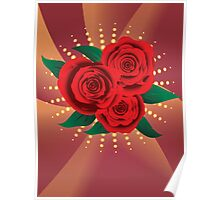 Card with red roses 2 Poster