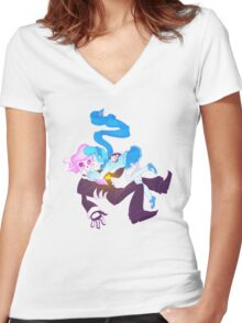 Mystery Skulls Ghost - Lewis and Vivi Women's Fitted V-Neck T-Shirt