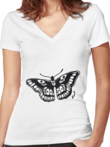 Butterfly Tattoo Women's Fitted V-Neck T-Shirt