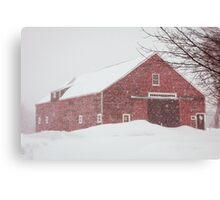 Winter Red Barn Canvas Print