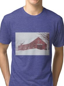 Winter Red Barn Tri-blend T-Shirt