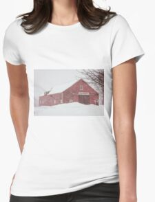 Winter Red Barn Womens Fitted T-Shirt