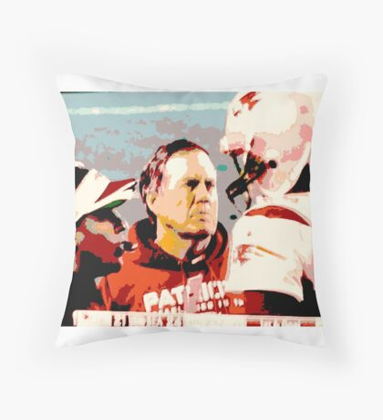 PATRIOTS, serious football 2015, collectible poster art, 3 heads better than one Throw Pillow