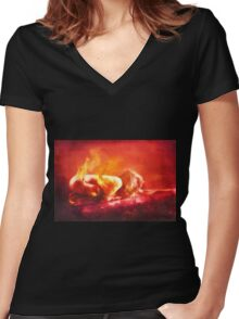 Born From Fire Women's Fitted V-Neck T-Shirt