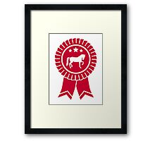 Horse dressage rosette ribbon Framed Print