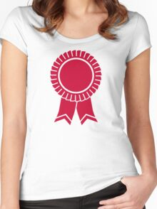 Red rosette winners badge Women's Fitted Scoop T-Shirt