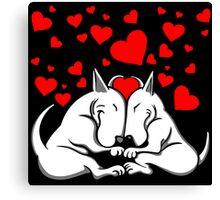 Bull Terriers In Love Canvas Print