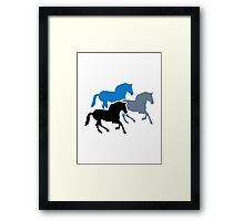 Colored running horses Framed Print
